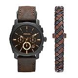 Fossil Mens FS5251SET Machine Chronograph Dark Brown Leather Watch and Bracelet Box Set