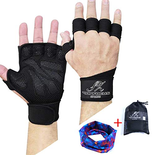SZTOPFOCUS Men Weight Lifting Gym Gloves- Ventilated Workout Gear with Wrist Wrap Support for Fitness, Pull-up, Barbell, Dumbbell, Weight Training Exercise (L)
