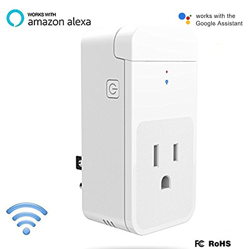 WiFi Smart Plug, Mini Outlet Wireless Socket Works with Alexa Echo & Google  Home, Remote Control Your Appliances by Voice/ App Anywhere with Timing
