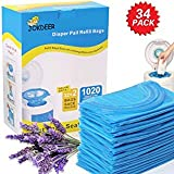 Diaper Pail Refill Bags 1020 Counts 34 Bags Fully Compatible with Arm&Hammer Disposal System Diaper Pail Snap, Seal and Toss Refill Bags