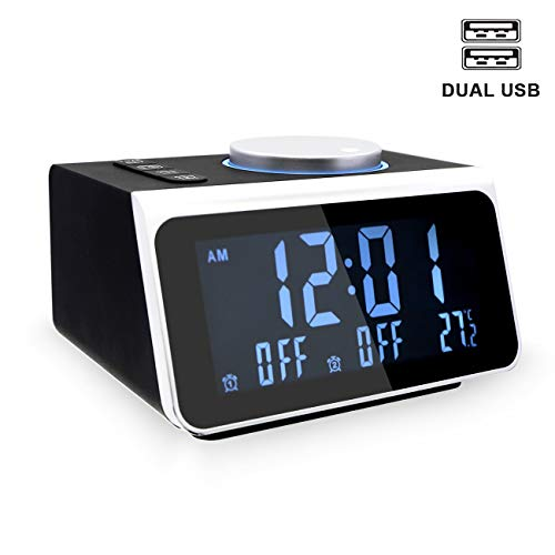 YIKESHU Small Alarm Clock Radio with FM Radio,Dual USB Charging Ports,Temperature Display,Dual Alarms with 7 Alarm Sounds,5 Level Brightness Dimmer,Headphone Jack,Bedrooms Sleep Timer