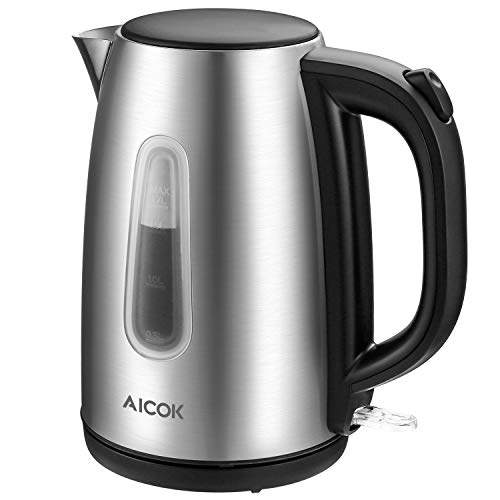 Electric Kettle Stainless Steel Tea Kettle Fast Boiling Cordless Water Kettle 1500W Electric Hot Water Kettle Tea Heater 1.7L with Auto Shut-Off & Boil-Dry Protection(BPA-Free) By AICOK