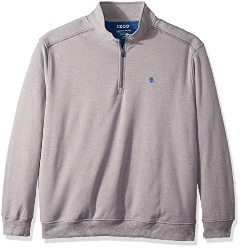 IZOD Men's Big and Tall Advantage Performance Quarter Zip Fleece Pullover, Smoked Pearl, 4X-Large