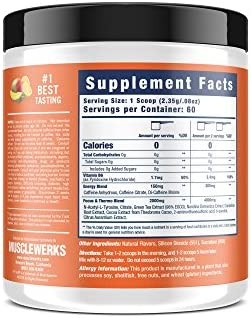 Musclewerks D-Fine8 - Fat Burner Thermogenic, Pre Workout Powder, Appetite Suppressant, Energy & Weight Loss Supplement for Men & Women - 60 Servings Vegan Friendly (Tropical Mango) 7
