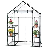 PortableMini Indoor/Outdoor Greenhouse, Plant Shelves Tomato Herb Canopy Winter Walk-in Green House for Patio