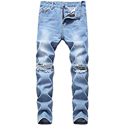 Boy's Light Blue Ripped Distressed Skinny Fit No Stretch Slim Denim Jeans Pants 045