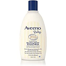 Aveeno Baby Soothing Relief Creamy Wash with Natural Oatmeal for Dry, Sensitive Skin, 12 fl. oz (Pack of 2)
