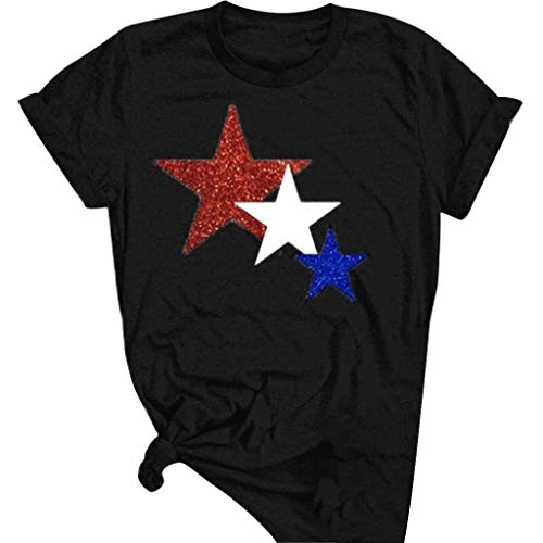 Aniywn Independence Day T-Shirt for Women, American Star Print Tees Short Sleeve Casual Tops Blouse Black