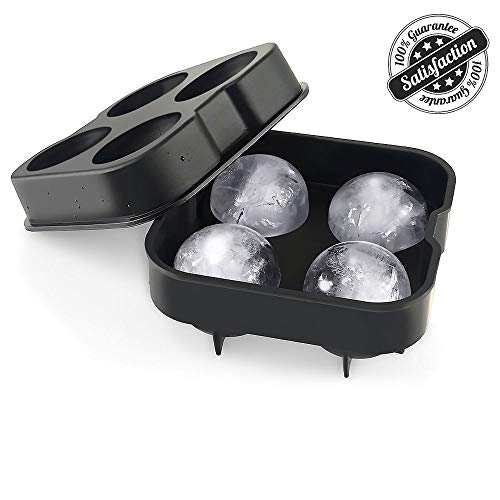 Domi Ice Ball Mold, Flexible Silicone Sphere Ice Tray for Whiskey, BPA Free Ice Ball Maker for Drinks