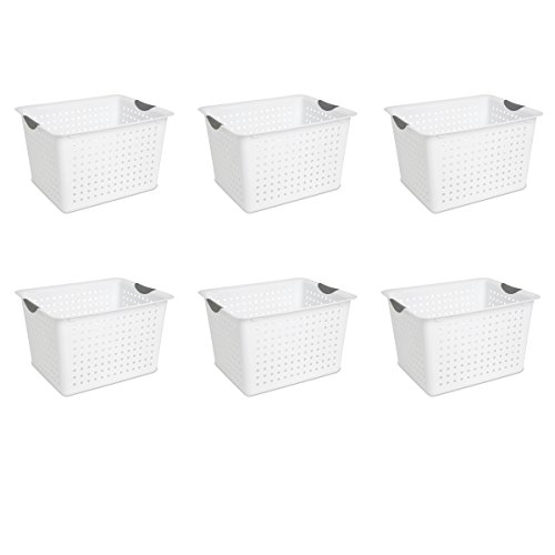 Sterilite 16288006 Deep Ultra Basket, White Basket w/ Titanium Inserts, 6-Pack