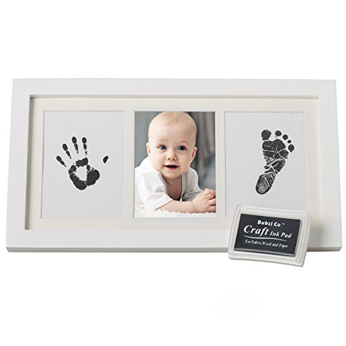 BEAUTIFUL BABY HANDPRINT & FOOTPRINT FRAME KEEPSAKE KIT for Boys, Girls, & Infants, Babyprints