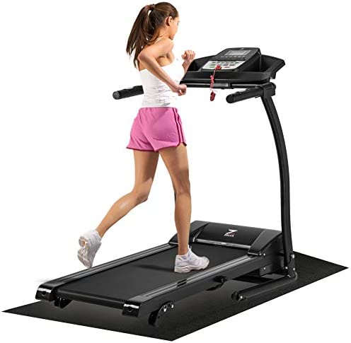 ZELUS 1100W Folding Treadmill for Home Gym with 3 Level Incline, Heart Monitor, Portable Electric Running Machine, Treadmill Foldable with Cup/Phone Holders/Mat 1