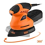 TACKLIFE Detail Sander 1.60A, Advanced 360° Rotatable Sanding Pad, 12,000 OPM Mouse Detail Sander with Sturdy Dust Collection Container, 3 Meter Cord, Ideal for DIY, Home Decoration PMS02A