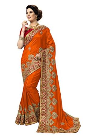 PANASH TRENDS Women's Art Silk Saree With Unstitched Blouse Piece