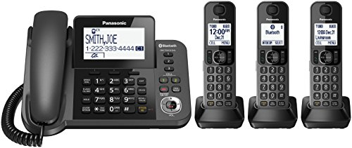 PANASONIC Corded/Cordless Phone with Link2Cell Bluetooth and Answering Machine KX-TGF383M - 3 Handsets (Black)
