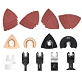 EONLION 25 Pcs Metal/Wood Oscillating Multitool Quick Release Saw BladesQuick Release Kit Fein Multimaster Porter Cable Black&Decker Bosch Dremel Craftsman Ridgid for Sanding, Grinding and Cutting