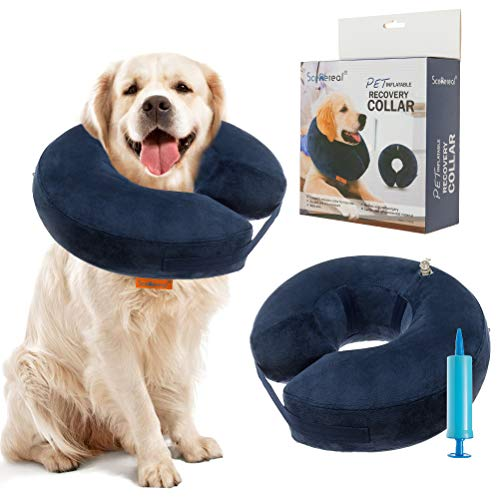 SCENEREAL Inflatable Recovery Collar for Dogs & Cats - Surgery Dog Collars E-Collar for Preventing Pets from Biting Licking Wound, XL
