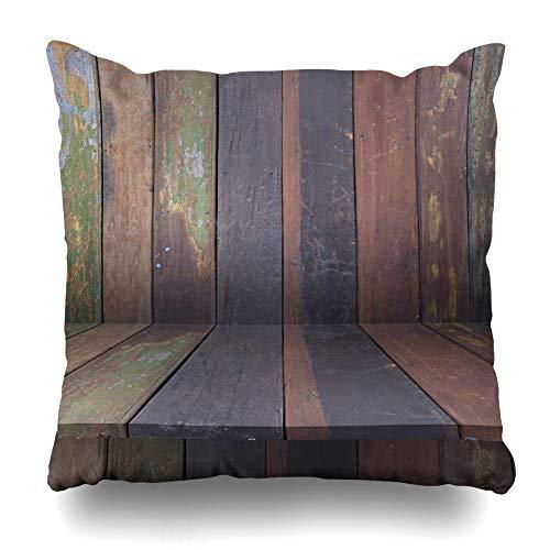 Suesoso Decorative Pillows Case 18 X 18 Inch Wood Shelves Wall Wood Mockup Rustic Backdrop Board Business Desk Floor Throw Pillowcover Cushion Decorative Home Decor Garden Sofa Bed Car