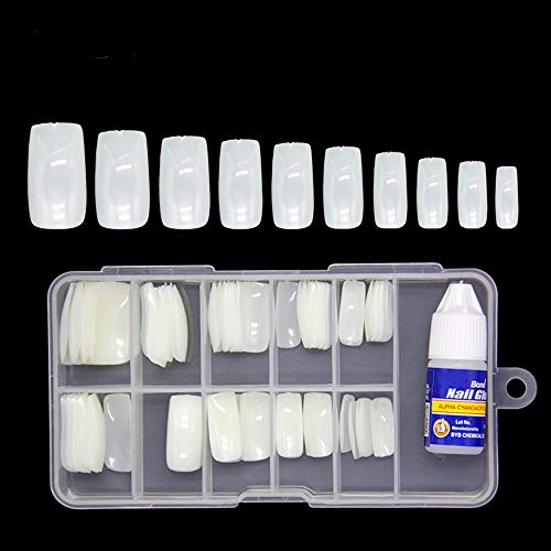 Colour Blast Artificial Nails Set With Glue Acrylic Face Nails Set Of 100 Pcs and Artificial Nail Glue 3gm Artificial Nails Reusable