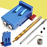 Mini Pocket Hole Jig Kit Style w/Step Drilling Bit Woodwork Joint Tool Set, Blue