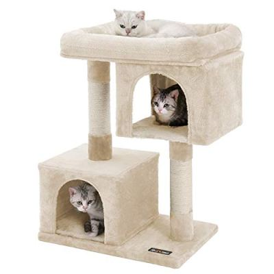 FEANDREA Cat Tree for Large Cats, Cat Tower 2 Cozy Plush Condos...