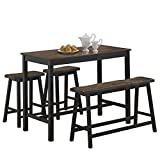 COSTWAY 4PC Counter Height Table Set Simple Dining Set Modern Style with One Height Bench and Two Saddle Stools, Solid Wood, with Foot Pads, Home, Kitchen, Living Room Furniture (Gray & Brown)