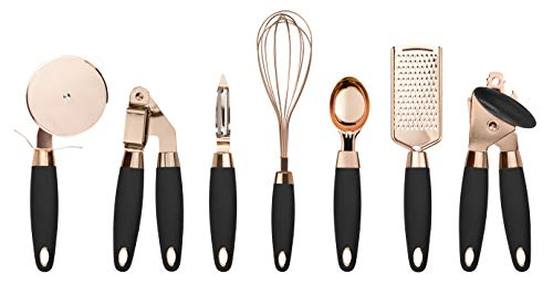 COOK With COLOR 7 Pc Kitchen Gadget Set Copper Coated Stainless Steel Utensils with Soft Touch Handles