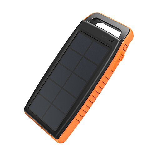 Solar Battery Bank - 15000mAh Dual USB with Flashlight (IPX4 Splashproof, Dustproof).