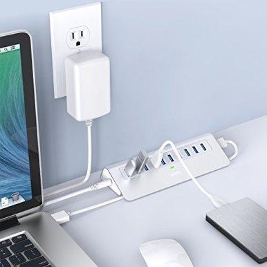 AUKEY-Powered-USB-Hub-Aluminum-10-Port-USB-30-Data-Hub-with-12V3A-Power-Adapter-33ft-USB-Cable-for-MacBook-Air-Mac-Mini-iMac-Laptop-PC-USB-Flash-Drives-HDD-Hard-Drive-Silver