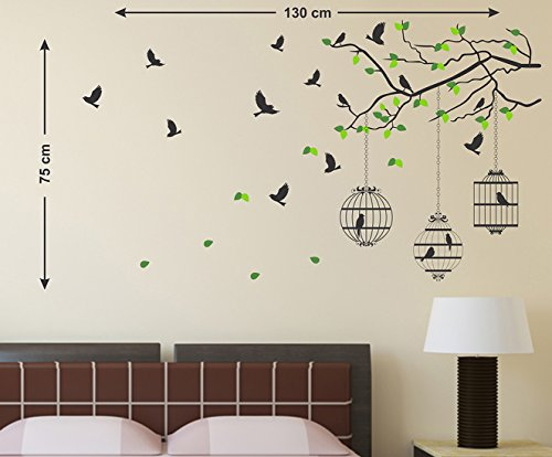Decals Design 'Tree Branches with Leaves Birds and Cages' Wall Sticker (PVC Vinyl, 50 cm x 70 cm, Mu & 'Hanging Lamp and Vines' Wall Sticker (PVC Vinyl, 70 cm x 50 cm, Black) Combo TODAY OFFER ON AMAZON