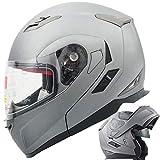 Orion Voyager Modular Flip-up Street Bike Cruiser Motorcycle Helmets with Drop-down Inner Sun Shield DOT (XL, Titanium Grey)