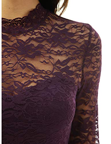 5c57a2faa2b PattyBoutik Women Floral Lace Mock Neck Inset Sweetheart Blouse ...