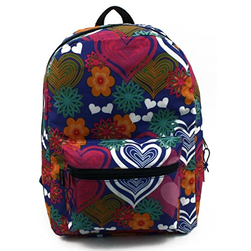Arctic Star 17' Most Popular, Sturdy Ergonomic, Super Padded Girls Backpack for School, Backpacking, Camping, Outdoors and More! (Hearts & Flowers)