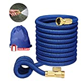 "Expandable Garden Hose,Flexible Garden Hose 50 ft,Water Hoses Expandable with 3/4"" Solid Brass Fittings 3-layer Latex Compact Hose with on/off Valve Lightweight Hoses Easy Storage Blue"