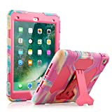 ACEGUARDER iPad 2017/2018 iPad 9.7 inch Case, Shockproof Impact Resistant Protective Case Cover Full Body Rugged for Kids with Kickstand for Apple ipad 5 th/ipad 6 th Generation, Pink Camo/Rose