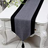 Linen Table Runner with Tassel Simple Style Decorative Tablecloth for Dinner Parties Tabletop Decor