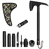 LIANTRAL Camping Stainless Axe with Sheath 18 inch Multitool Tactical Hatchet Sickle and Flashlight for Camping Hiking Hunting Backpacking Emergency Outdoor adventures Survival Hatchet Portable Foldin