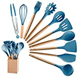 MIBOTE 10 Pieces Silicone Cooking Utensils Kitchen Utensil Set with Holder, Acacia Wooden Cooking Tool Turner Tongs Spatula Spoon for Nonstick Cookware - Best Kitchen Tools Gadgets (Blue)