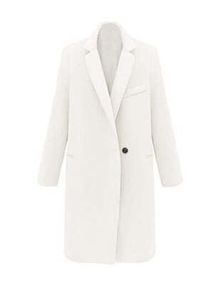 JollyChic Women's Candy Color Cashmere Wool Thicken Winter Coat (8, White)