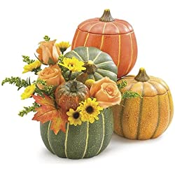 3 Assorted Pumpkin Planters with Removable Lids