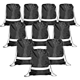 BeeGreen Black Drawstring Backpack Bags Reflective 10 Pack, Promotional Sport Gym Sack Cinch Bag (Black)