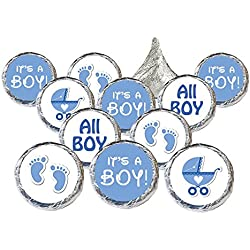 Boy Baby Shower Favors 324 Stickers for Kisses Candies