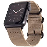 Carterjett Compatible Apple Watch Bands 42mm 44mm Tan Nylon iWatch Band Replacement Strap Light Brown Woven Canvas Gray Steel NATO Buckle Compatible Apple Watch Series 4 3 2 1 Sport (42 44 S/M/L Tan)