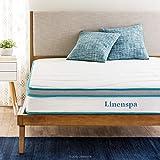 Linenspa 8 Inch Memory Foam and Innerspring Hybrid Mattress - Medium-Firm Feel - Queen