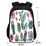 Durable Waterproof Backpack,Desert Botanic Herbal Cartoon Like Cactus Plant Flower with Spikes Print,School Bag :Suitable for Men and Women,School,Travel,Daily use,etc.Green and Pink