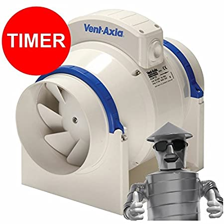 Vent Axia 17104020 Acm100t 100mm In Line Mixed Flow Fan With Timer
