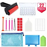 22 Pieces 5D Diamond Painting Tools and Accessories Kits with Diamond Painting Roller and Diamond Embroidery Box for Adults or Kids