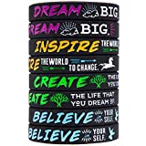 Sainstone Silicone Motivational Wristbands, Rubber Inspirational Quote Bracelets - Dream, Inspire, Create, Believe for Kids Boys & Girls Scout Birthday Party Cheer Gifts Supplies Favors (Ladies)