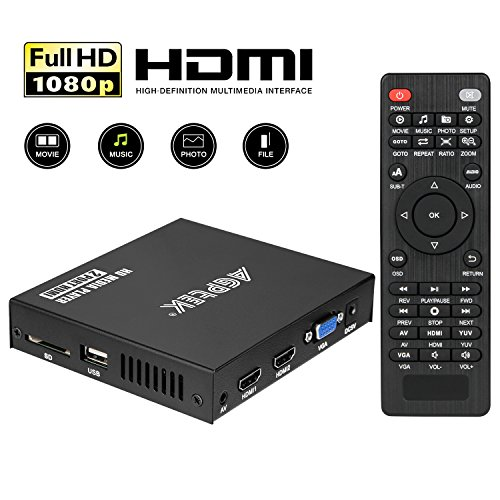Media Player, 2 HDMI Ports 1080P Full-HD Portable Digital Player, Play Video and Photos with USB Drive/SD Cards/HDD/External Devices, HDMI/AV/VGA Output