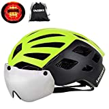 KINGBIKE DOT Bicycle Helmet Detachable Eye Shield Goggles(100% UV400 Protection,Can Over The Glasses) + Helmet Backpack Men Women,3 Modes Rear Safety LED Light,26 Air Vents (Black&green, M-L(55-59CM))